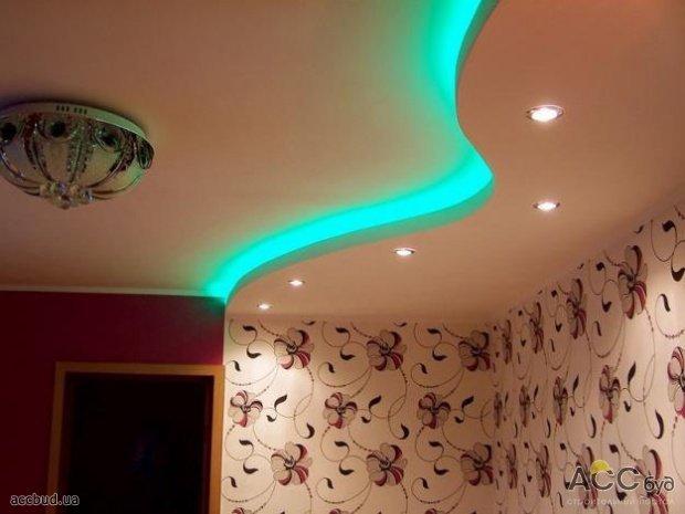 Дизайн подсветки на потолках из гипсокартона