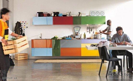 фото разноцветная кухня