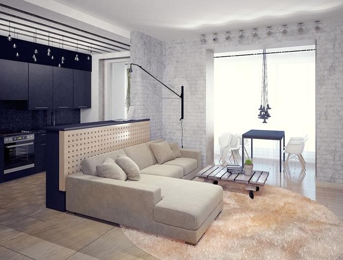 Дизайн гостиной-кухни 45 кв.м