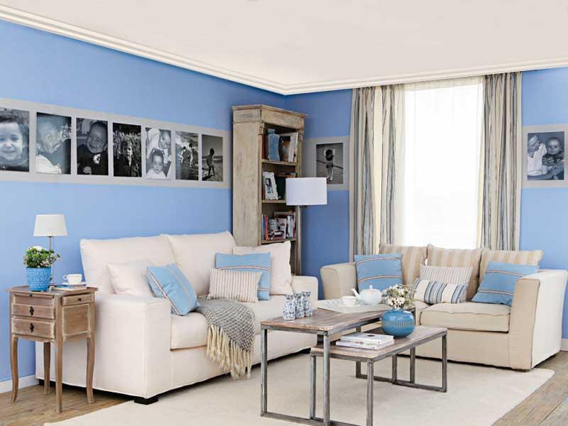 Бело-синий цвет в интерьере