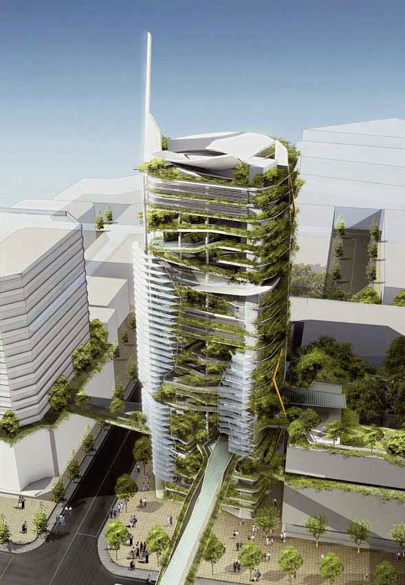 EDITT Tower, Сингапур; Проект: T.R. Hamzah & Yeang Sdn. Bhd (Green Architecture for the Future) (Фото: Llewelyn Davies)