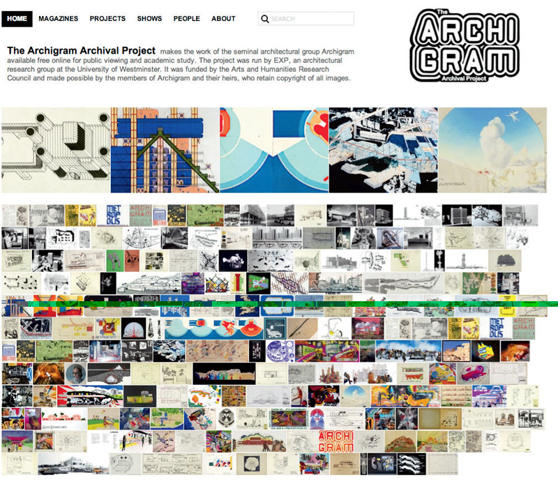 Стартовая страница сайта Archigram Archival Project (http://archigram.westminster.ac.uk)