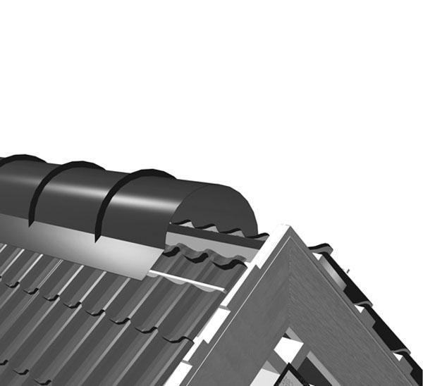 На конек укладывают уплотнитель с освобожденными вентиляционными отверстиями. Фото: ТПК