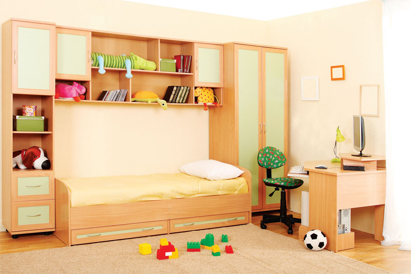 Корпус мебели для детской комнаты Тезоро изготовлен из ламинированной ДСП итальянского производства