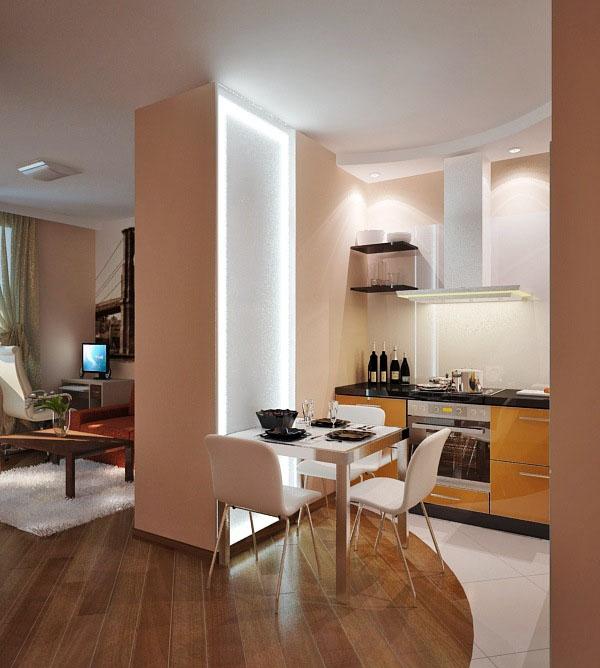 Дизайн маленькой квартиры с камином
